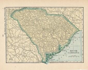 1923 South Carolina & Rhode Island Antique Map