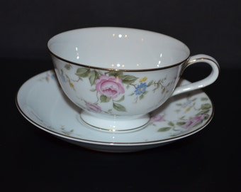 Noritake Cup & Saucer Firenze Roses and Flowers Porcelain Teacup