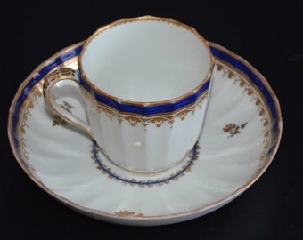 Antique English Derby Porcelain Duesbury Period 18th Century Cup & Saucer Set Blue Gold Trim
