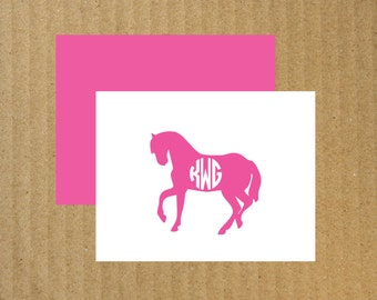 Horse Note Cards, Set of 10, Horse Monogram, Monogram Note Cards, Monogram Thank You Cards, Horse, Equestrian Note Cards, Equestrian