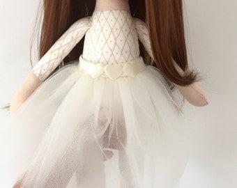 Ballerina doll cloth doll fabric doll cream tutu skirt dark brown hair perfect gift christening