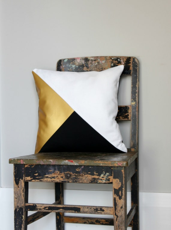 Geometric Black WhiteMetallic Gold Pillow Cover Gorgeous