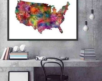 US Map Poster US Map Wall art Map of USA Map