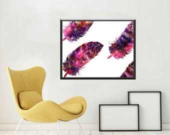 Feathers Art Feather Prints Feather Printables Feather Instant Download Feather Wall Prints  Feather Wall Art