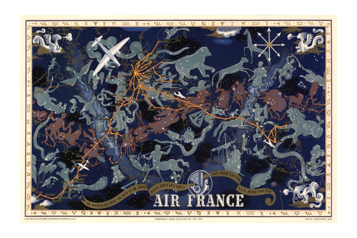Air france zodiac constellation print vintage celestial air france zodiac constellation print vintage celestial planispheric map astrological star chart restoration style travel ad poster gumiabroncs Gallery