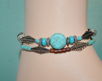 Ankle Bracelet Turquoise & Wood Bead, Wood Bead Anklet, Turquoise and Silver Southwestern Anklet, Boho Turquoise Anklet, Silver Bead Anklet