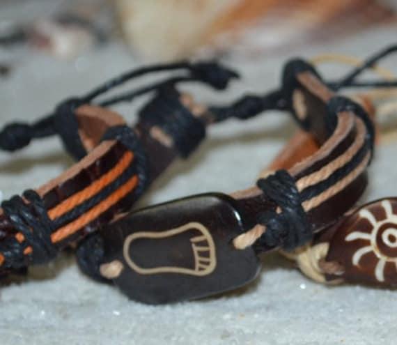 Bracelet Barefoot, Leather Barefoot Bracelet, Beachy Barefoot Bracelet, Leather Bracelet, Barefoot Bead Bracelet