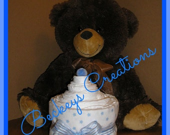 Diaper Cupcake With Teddy Bear