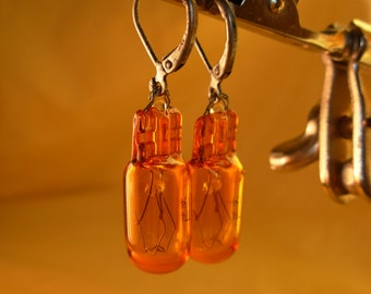 Amber steampunk dieselpunk industrial lightbulb earrings