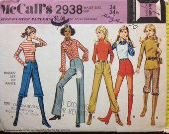 McCalls 2938 - 1970s Pants Knickers and Shorts Collection - Size Waist 24 Hip 34.5