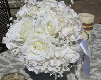 Romantic Silk Bride Bouquet-White roses,white Hydrangeas,Baby's breath Bridal Decor
