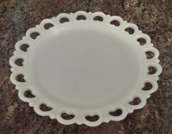 Milk Glass White Serving Platter With Heart And Scalloped Edge
