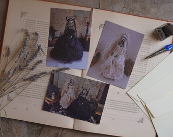 Dark Beauty postcards. Set of 3 greeting cards. Reproductions of gothic art dolls. Day of the Dead, sugar skulls.