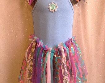 PURPLE FAIRY TOP, tattered pixie dress, girls tutu dress, dance costume, 3 4 year old, pink blue purple tulle, dress up top, photo shoot