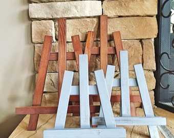 ART EASEL | Wood | One (1) Vintage-inspired farmhouse easel; Picture frame display; Artwork Stand; Book Stand