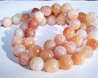 Crab Fire Agate beads 14mm 15 inch strand