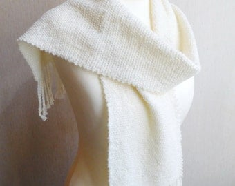 Ivory scarf, handwoven scarf, woven scarf, unique handmade scarves, gifts for wife mom, gifts for women