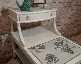 Table, Side-Table, Entry Table - Two Tier - Painted - Chalk Paint - Stenciled