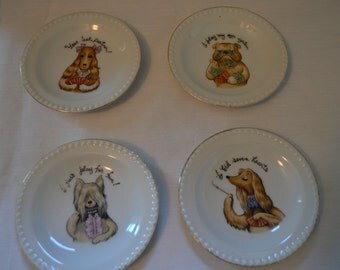 Porcelain Card Playing Dog Coasters