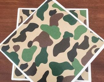 Camoflauge tile coasters, camo coasters, ceramic tile coasters, tile coasters, drink coasters, coaster set