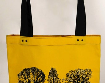 Trees - yellow hand screen printed cotton canvas tote bag