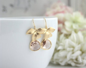Peach Earrings, Gold Orchid Flowers Champagne Peach Orchid Dangle Earring Light Peach Wedding Earrings Bridesmaid Earrings Mother of Bride