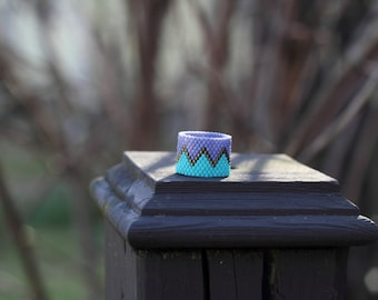 Peyote Stitch Ring | Pastel and Brass Beaded Ring | Chevron Striped Beadwork Ring | Turquoise, Lavender, and Brass Ring | Chunky Ring