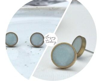 Light Blue Stud Earrings. Hypoallergenic Studs. Blue Post Earrings. (#051)