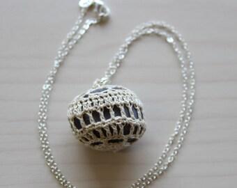 Round Purple Crochet Covered Stone Pendant