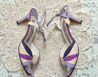 70s Purple Strappy Heels // Vintage Open Toe Spring High Heels Shoes // Size: 6.5-7