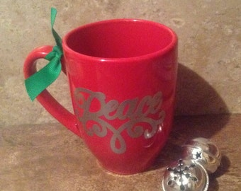 Coffee Mug-Coffee Cup-RedCoffee Cup- Red Coffee Mug- Coffee Cup Quote- Christmas Peace Coffee Cup- Christmas Mug- Peace