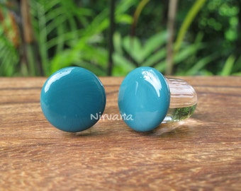 "Aqua Color Front Glass Plug 14g 12g 10g 8g 6g 4g 2g 0g 00g 7/16"" 1/2"" - 1"" 1.6 mm 2 mm 2.5 mm 3 mm 4mm 5 mm 6 mm 8 mm - 25 mm"