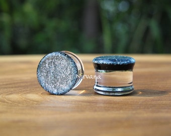 "Silver Dichroic Glass Plugs  6g 4g 2g 0G 00g  7/16"" 1/2"" 9/16"" 5/8"" 3/4"" 7/8"" 1"" 4 mm 5 mm 6 mm 8 mm 10 mm 12 mm 14 mm 16 mm 18 mm 25 mm"