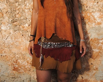 handmade brown leather top , backless, with feathers, rivets and seashell
