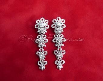 Crystal Silver Wedding Earrings. Bridal Earrings. Chandelier earrings. Teardrop Jewelry Earrings, Bridesmaids Post Earrings, Ruby Blooms
