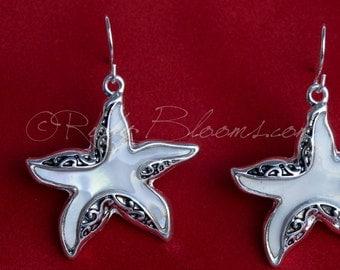 Mother Pearl Starfish Earrings. Beach Wedding Jewelry Bridal Accessory, Destination Mother Pearl Wedding, Sea Star fish Bridesmaid Gift,