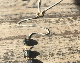 Black Tourmaline and Herkimer Diamond Choker