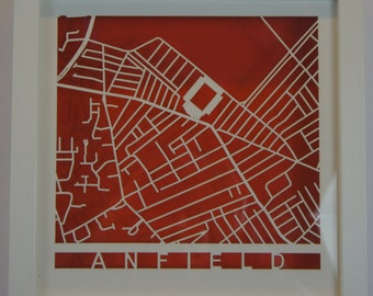 Liverpool - Anfield - Laser cut map - White