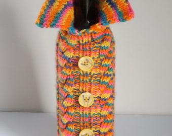 Handknit Wine Bottle Cozy, Wine Bottle Jacket, Wine Bottle Sweater, Wine Bottle Gift Bag, Washable Acrylic Variegated Self Striping Yarn #33