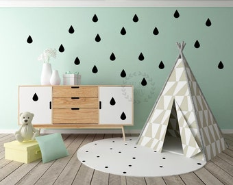 Set of 25 raindrops wall decals Peel and stick raindrop wall sticker Nursery raindrop wall decals Small vinyl wall decal Raindrop wall mura