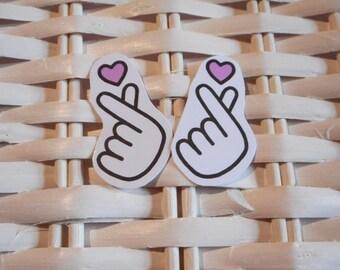 Mini Kpop Heart Hand - Sticker Set