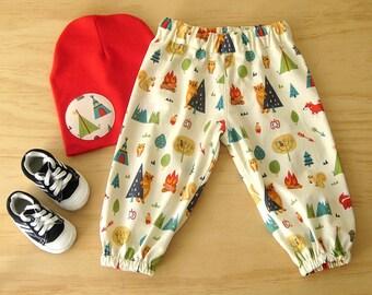 Boys Woodlands harem pants. Boys clothing set. Baby boys cotton pants. Boys Woodlands fabric harems.Boys elastic waist pants. Boys beanie.