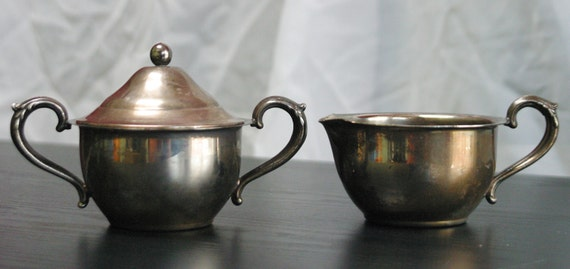 items similar to vintage english silver mfg corp creamer pitcher sugar bowl made in the u s a. Black Bedroom Furniture Sets. Home Design Ideas