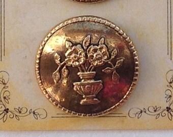 Pair Vintage Victorian Reproduction La Mode Gold Blazer Jacket Button 25mm #86