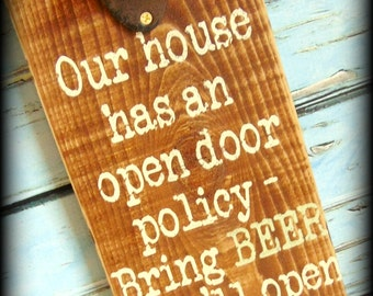 Rustic Beer Sign - Man Cave Sign - Bottle Opener Sign - Funny Sign - Gifts For Him - Father's Day Gift - Gifts Under 50 - Wooden Bar Sign