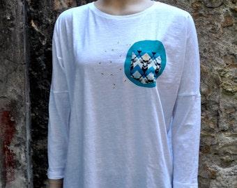 """T-shirt """"Gold deer"""" - 3/4 sleeves - women"""