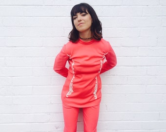 1960's Hot Pink Two Piece Sgt. Pepper's Pant Suit