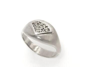 White gold woman signet sing, Diamond signet ring ON SALE,Signet ring, solid gold signet ring, diamond shaped ring,Diamond silhouette ring