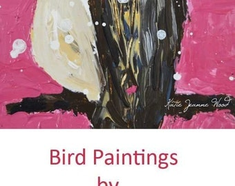 Framed Pink Cottage Chic Chickadee Bird Painting. Pink Wildlife Animal Portrait. Gift for Wife. No 130