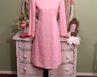 SUMMER SALE, Pink Summer Dress, Lace Dress, 60s Vintage Dress, MS/M, Pretty In Pink Dress, 1960s Vintage Dress, High Neck, Light Pink Dress